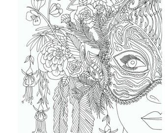 adults coloring book printable coloring pages coloring book for adults instant download - Printable Coloring Books For Adults