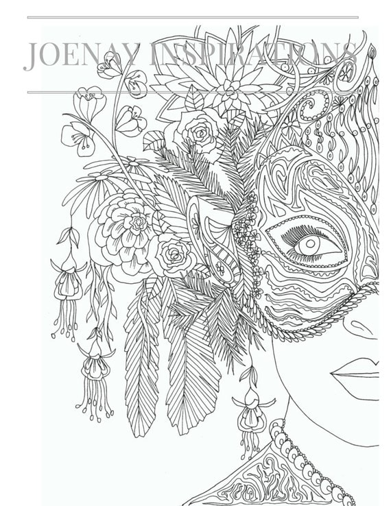 Adults Coloring Book, Printable  Coloring Pages, Coloring Book for Adults, Instant Download, Faces of the World 1 page 6