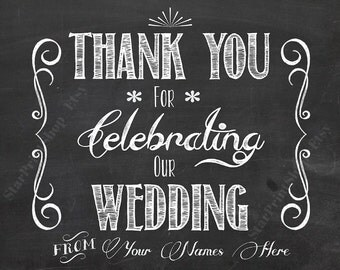 Thank You For Celebrating Our Wedding, Printable Wedding Sign, Printable Chalkboard Sign, Wedding Signs, DIY Wedding, Sign, Wedding Art, DL