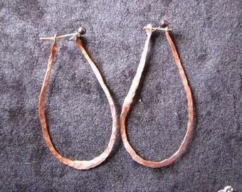 hand forged large copper teardrop earrings