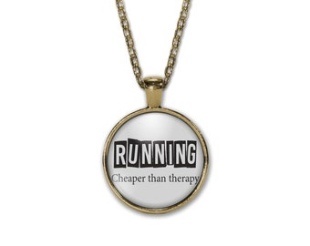 Running Cheaper than Therapy , Runner girl quote necklace,runner necklace, runner girl,running necklace, running charm,quote pendant