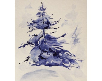 Original Landscape Watercolor Painting, Spruce, Winter Forest, Christmas Tree