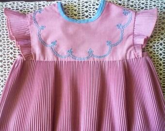 Soviet vintage baby girl dress Lilac Party dress Smocked dress Embroidered toddler dress 80s Cotton baby dress Tea dress