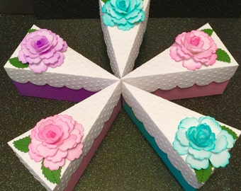 Cake Slice Box Favor! Over 5 Inches Long!Treat Holder! Select Plain Lid or Flower Lid! Color Choices! Weddings/Baby Showers,Birthday Favors!