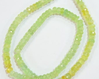 natural gem stone prehnite multi color faceted beads complete necklace 216 carats 19 inches 6 to 7 mm top quality