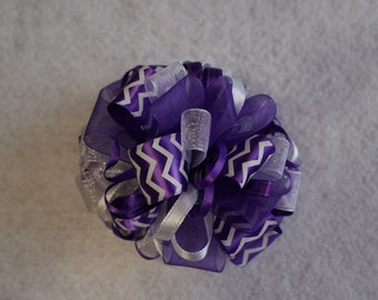 Purple and White Chevron Loopy Hair Bow