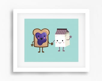 Breakfast digital print - Kids wall art - Funny printable art for kids - Toast and milk holding hands print - Children room decor