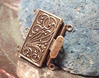 Triple Strand Antique Brass Filigree Clasp