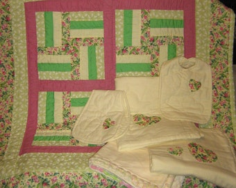 Hand quilted crib quilt -with handmade accessories