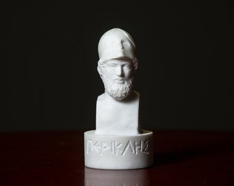 MARBLE bust of Perikles statue carved Greek marble figurine