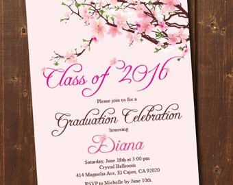 Class of 2016 Graduation Invitation Card (graduation announcement) - Print at Home or E-card--Cherry Blossom--Pink