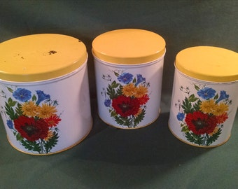 NC Colorware Canisters, 1950's, Floral Canister, canister set, NC Colorware, Kitchen Canister, Canister, canister, Retro Kitchen, Farmhouse