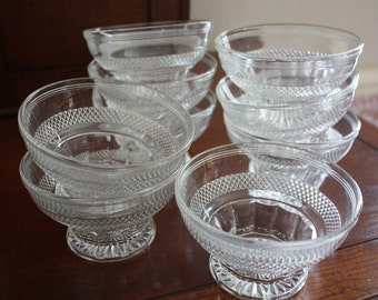 Glass ice cream/ dessert - pressed glass dishes - Nine