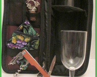 Opus, Picnic Time, Deluxe Wine Tote, Service For Two,  Proposal Item or Valentine's Day or Anniversary  Picnic