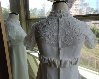 Vintage 1960's Wedding Gown with Detachable Train, pearls and crystals