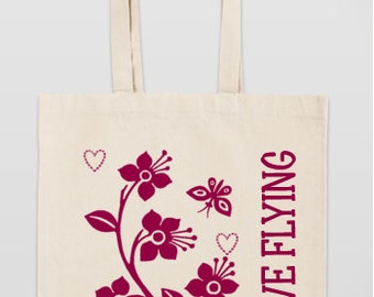 Tote Bag: Butterfly flower graphic tote bag
