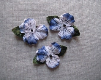 Blue appliques, velvet pansies by The Lace Attic, millinery flowers. velvet flowers. vintage pansies. scrapbooking flowers