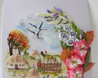"""3D painting """"Autumn Rhapsody"""". Embroidery ribbons."""