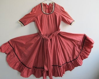 Vintage Hand-made Square Dancing Dress, early 1960s, extra full skirt, with rockabilly feel and authenticity, all cotton with trim