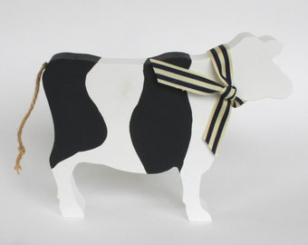 Black and White Wooden Cow Ornament, Cow Silhouette, Farm Animal, Wooden Cow, Farmers Gift