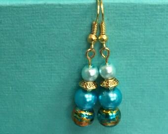 Aqua gold pearl earrings