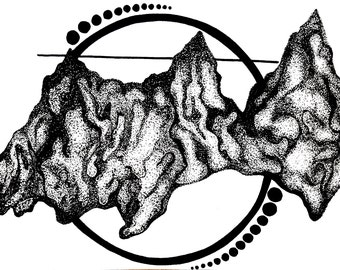 Black and white pointillism mountains