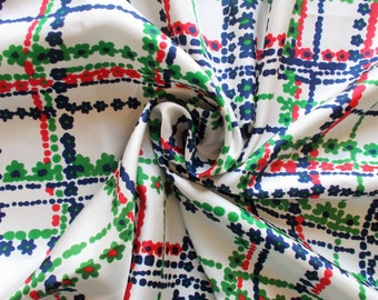 Vintage Synthetic Dress Fabric - 1960's/1970's - Floral checks in red, green and navy on a white background - Priced by the metre - Unused