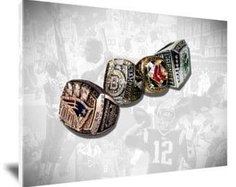 Patriots, Bruins, Red Sox, Celtics Canvas - 4 RINGS Boston Glory