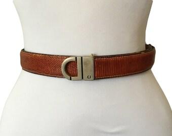 """Vintage Charles Jourdan Brown Lizard Skin Belt — 24""""-27""""W"""