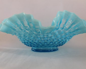 Regular Price 85.00 Vintage Fenton Blue Hobnail Brides Bowl
