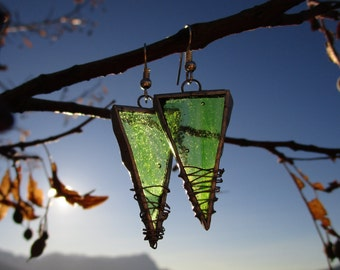 Earrings dangling triangle light green tiffany stained glass glass glass jewelry