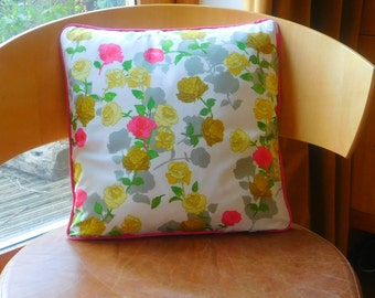 "Pink floral cushion. Pink rose design cushion. Vintage style pink floral cushion. Vintage style pink rose design cushion. 14 x 14"" cushion."