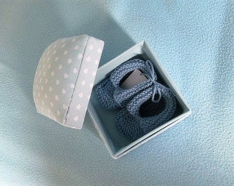 Baby Booties in Fabric Gift Box