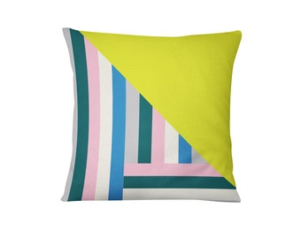 Geometric Pillow, Cotton Cushion, Color Block Pillow, Home Decor