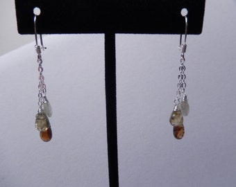 Green and Brown Garnet 3 Stone Dangle Earrings