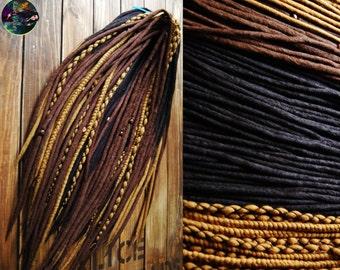 Set of wool double ended dreads DE dreadlocks black brown