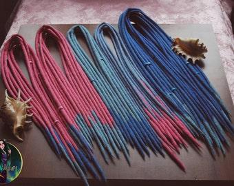 "Wool set ""Princess"" wool dreads DE dreads dreadlocks blue and pink"