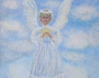 angel art unique painting cute gift ideas christmas gift family happy angel first baby figurative picture fantasy art angel wings