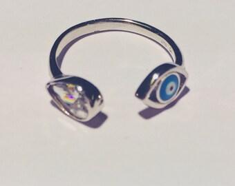 Evil eye open ring