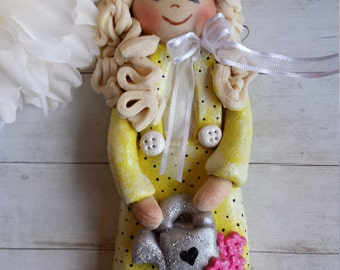Girl with watering can, Handmade Salt Dough Clay Ornament, Keepsake Gift, Personalized Present Home Decor