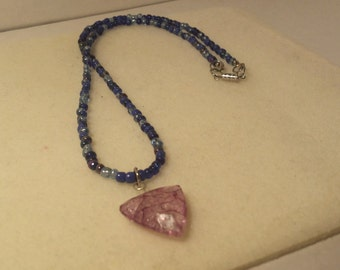 Purple Beaded Necklace with Violet Triangle Pendant