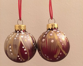 Set of Hand Painted Christmas Ornaments- White and Gold Swirl