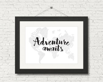 Adventure Awaits - Retro Map Downloadable Poster, Printable, Instant Digital Art