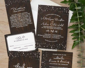 Cozy Cabin Invitation Set - Modern Wedding Invite - Rustic Wedding Invite - Vintage Digital Wedding Invitation Suite - AV8463