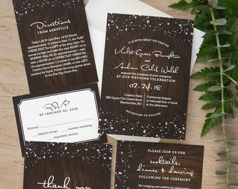 Cozy Cabin Invitation Set - Modern Wedding Invite - Rustic Wedding Invite - Vintage Digital Wedding Invitation Suite - AV8463