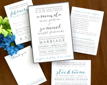 Posh Wedding Invitation Set  - Trendy Invitation Suite - Elegant Wedding Invite - Simple Wedding Invitations - AV8112