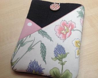 "Wild flower Kindle voyage sleeve,Kobo Aura pouch, Kobo touch case,fabric tablet case,Kobo glo cover,6"" tablet case, pink floral kindle case"