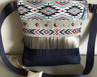 """Shoulder bag ethnic blue """"Sioux"""" - summer - ethnic hand - bag adjustable shoulder strap bag"""