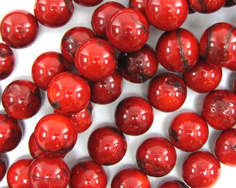 """10mm red coral round beads 8"""" strand 30349"""