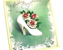 Bridal Wedding Gift Tag - Vintage Style Wedding Tag - Wedding Shoe Tag - Wedding Congratulations Gift Tag - Blank on Back to Write a Message